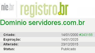 Domínio SERVIDORES.COM.BR completa 18 anos
