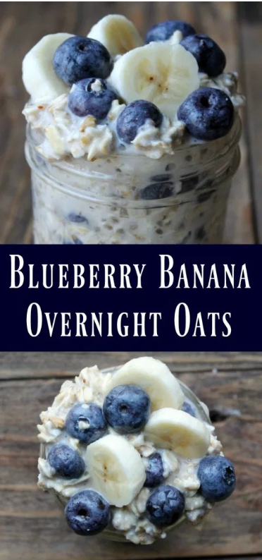 Juicy blueberries and ripe sweet bananas are the stars in this delicious wholesome overnight oats recipe!