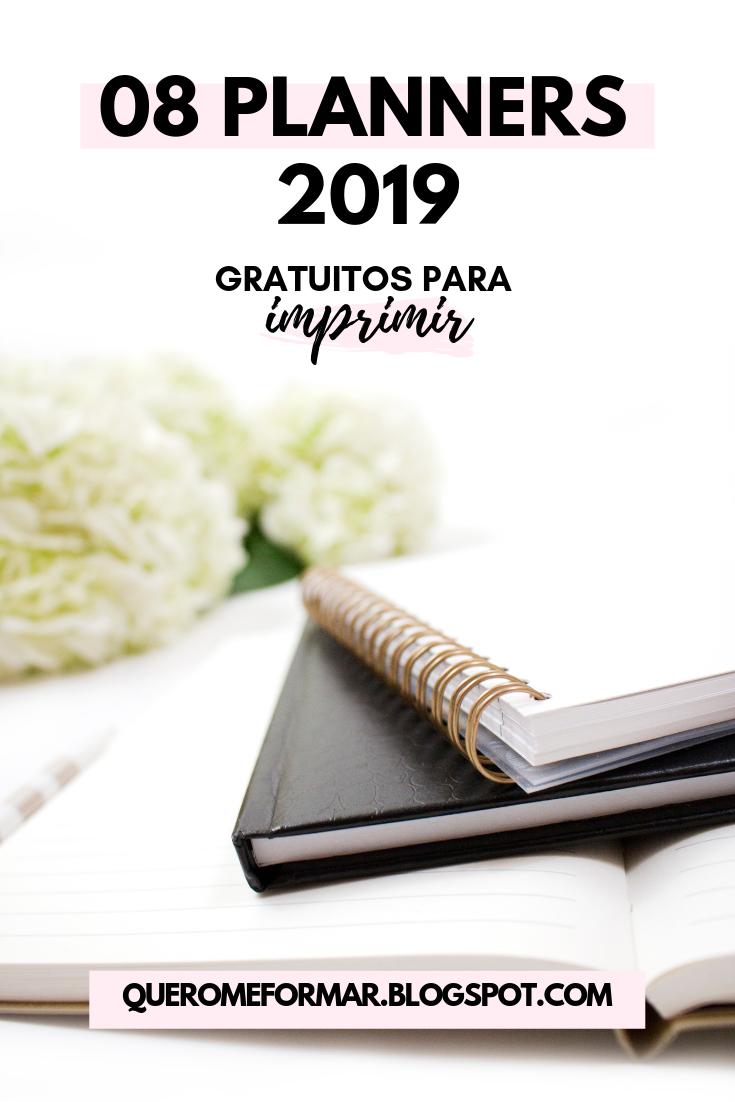 Planners 2019 Gratuitos e Personalizados para Fazer Download e Imprimir