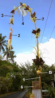 Principal parts of a Penjor for Galungan celebration.