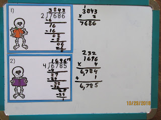 Skeletons Long Division Task Cards