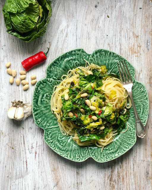 Brussels sprouts tops with pasta pic:Kerstin Rodgers/ msmarmitelover.com