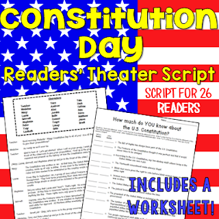 Constitution Day readers' theater script that can be read on September 17th! (This readers' theater file includes a BONUS follow-up activity!)