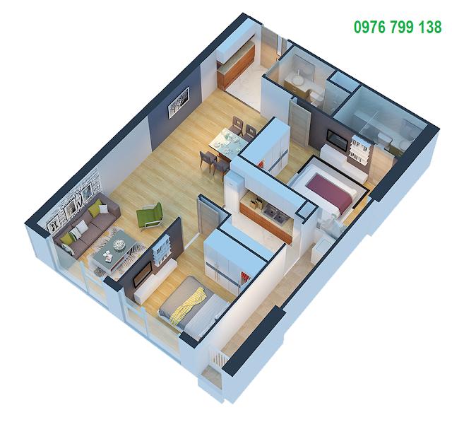 Căn hộ 75 m2 dự án Eco Green City