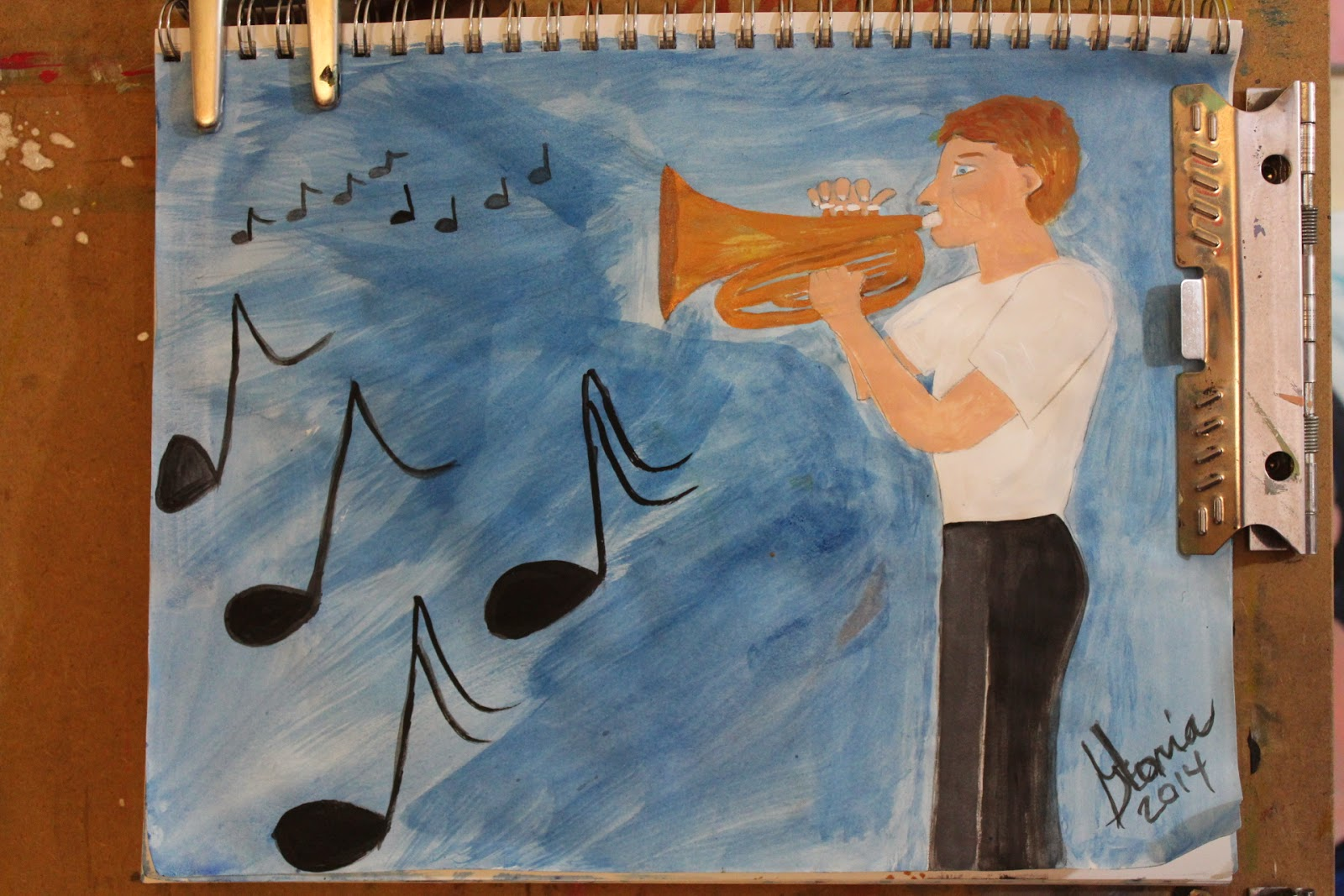 """French horn Military man"" sketch by Gloria Poole of Missouri; 28-March-2014"