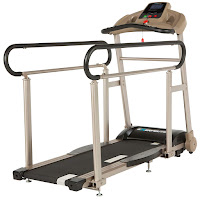 Exerpeutic TF2000 Recovering Fitness Walking Treadmill with Full Length Hand Rails, with low step-up height, shock absorbing deck