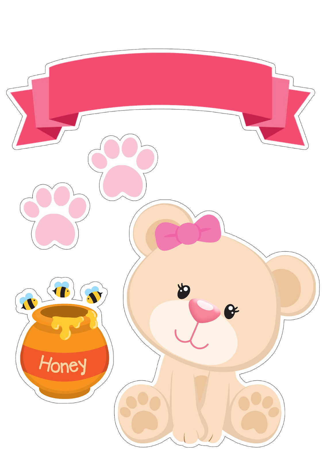 Bear Girl With Honey Free Printable Cake Toppers Oh My Baby