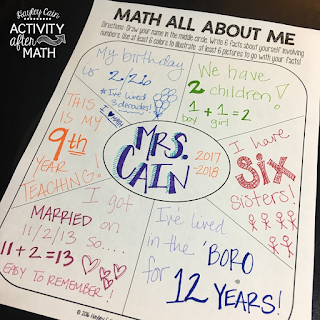Math All About Me First Day Activity