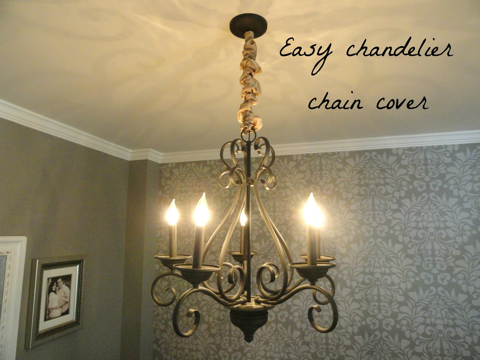 I Can T Say That Had Even Thought Much About Covering The Chandelier Chain Before But Day It Seemed Like A Great Idea This Is Really Easy