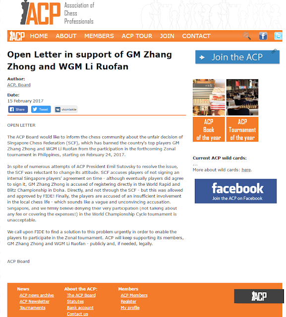 Open Letter in support of GM Zhang Zhong and WGM Li Ruofan