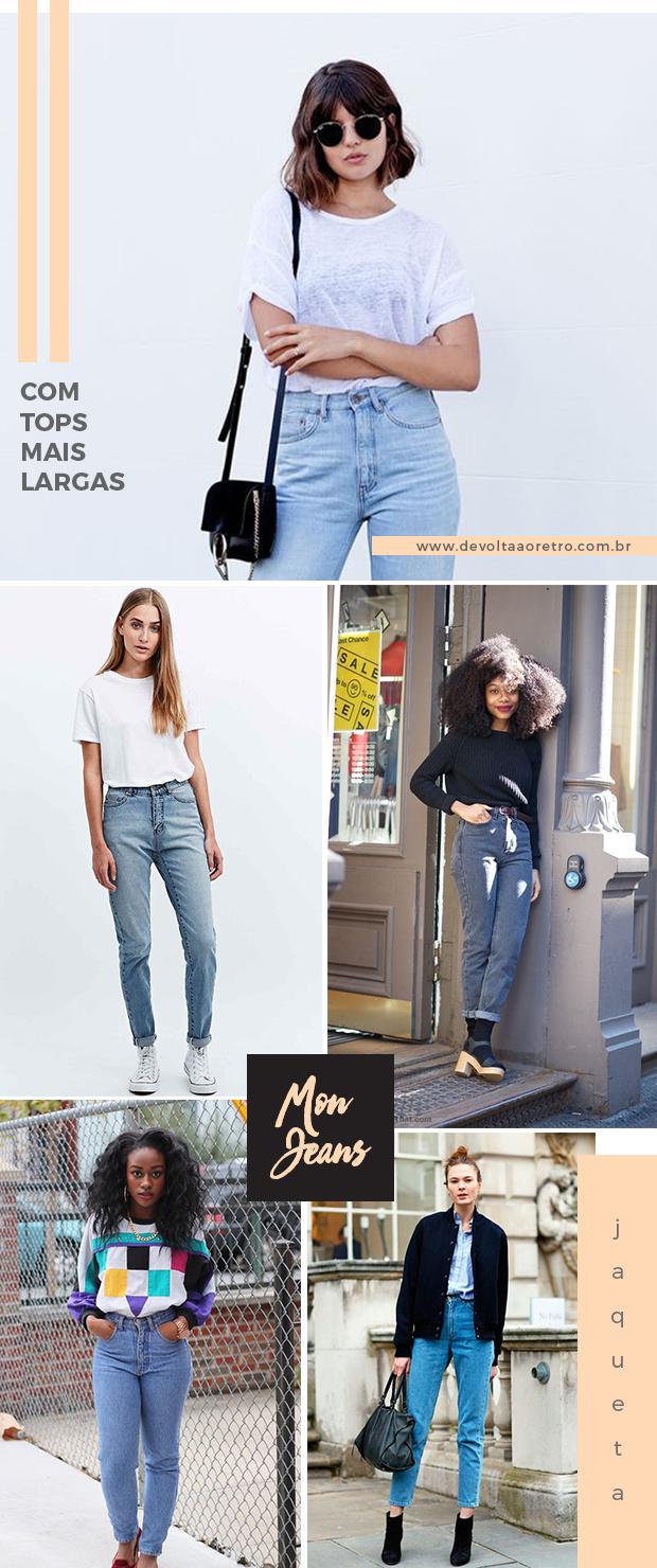 Como usar mom jeans com blusas largas