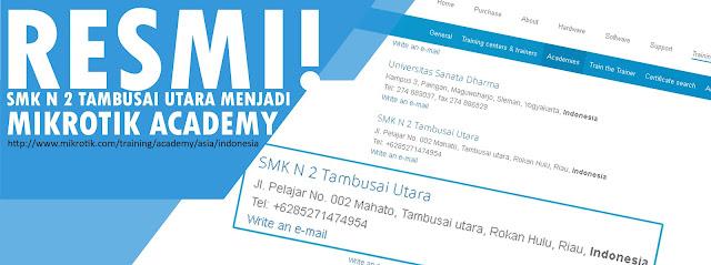 SMK N 2 Tambusai Utara sudah masuk listing di Mikrotik dot com