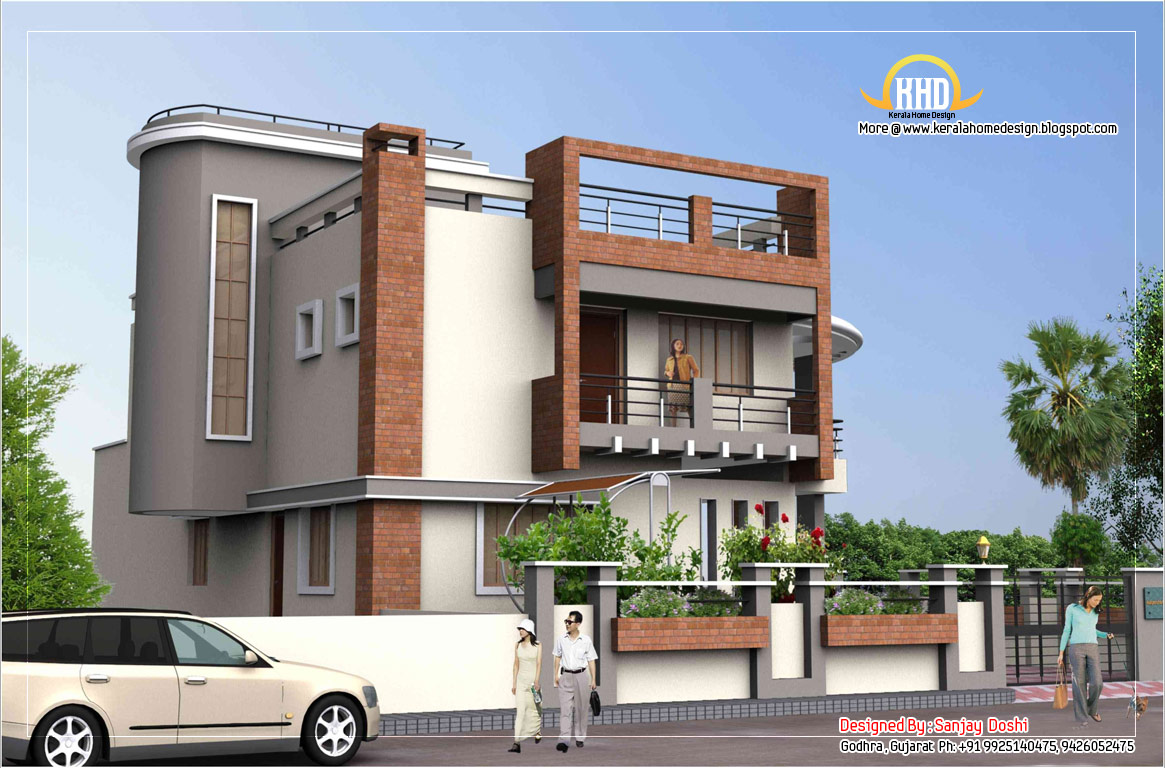 Duplex house plan and elevation 4217 sq ft kerala for Best architecture home design in india