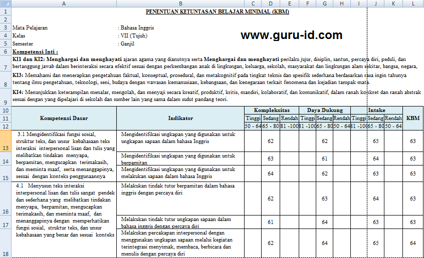 Cara Menentukan Kbm K13 Aplikasi Hitung Kkm Kurikulum 2013 Smp Revisi Terbaru Info Pendidikan Terbaru