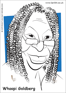 Whoopi Goldberg caricature by Ian Davy Brown