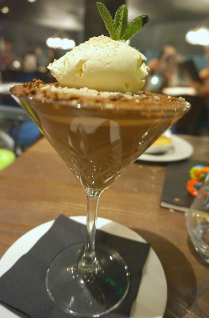 chocolate mousee in a martini glass