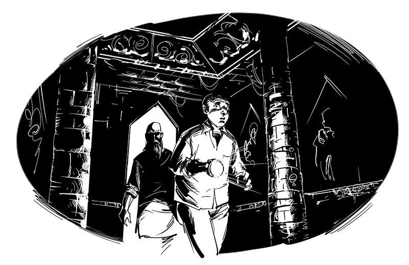 horror illustration scared men inside old dark temple
