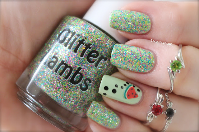 "Glitter Lambs ""Ant Picnic"" Glitter Topper Nail Polish Worn By @LacqueredLori Check out her review on her blog."