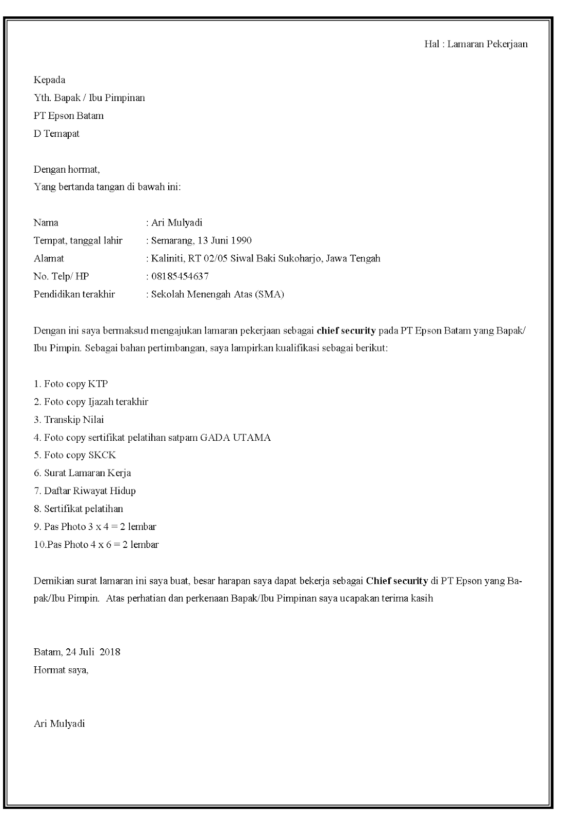 Contoh Surat Pengalaman Kerja Security