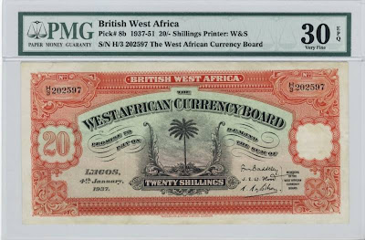 British West Africa banknotes 20 shilling note