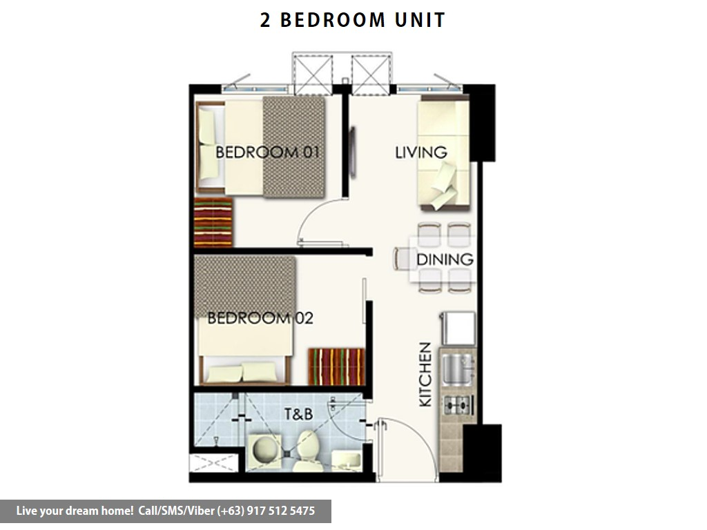 Floor Plan of SMDC Leaf Residences - 2 Bedroom Unit | Condominium for Sale Susana Heights Muntinlupa