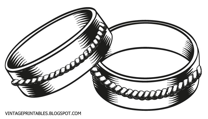 Free vintage clip art images: Vintage wedding rings clip art