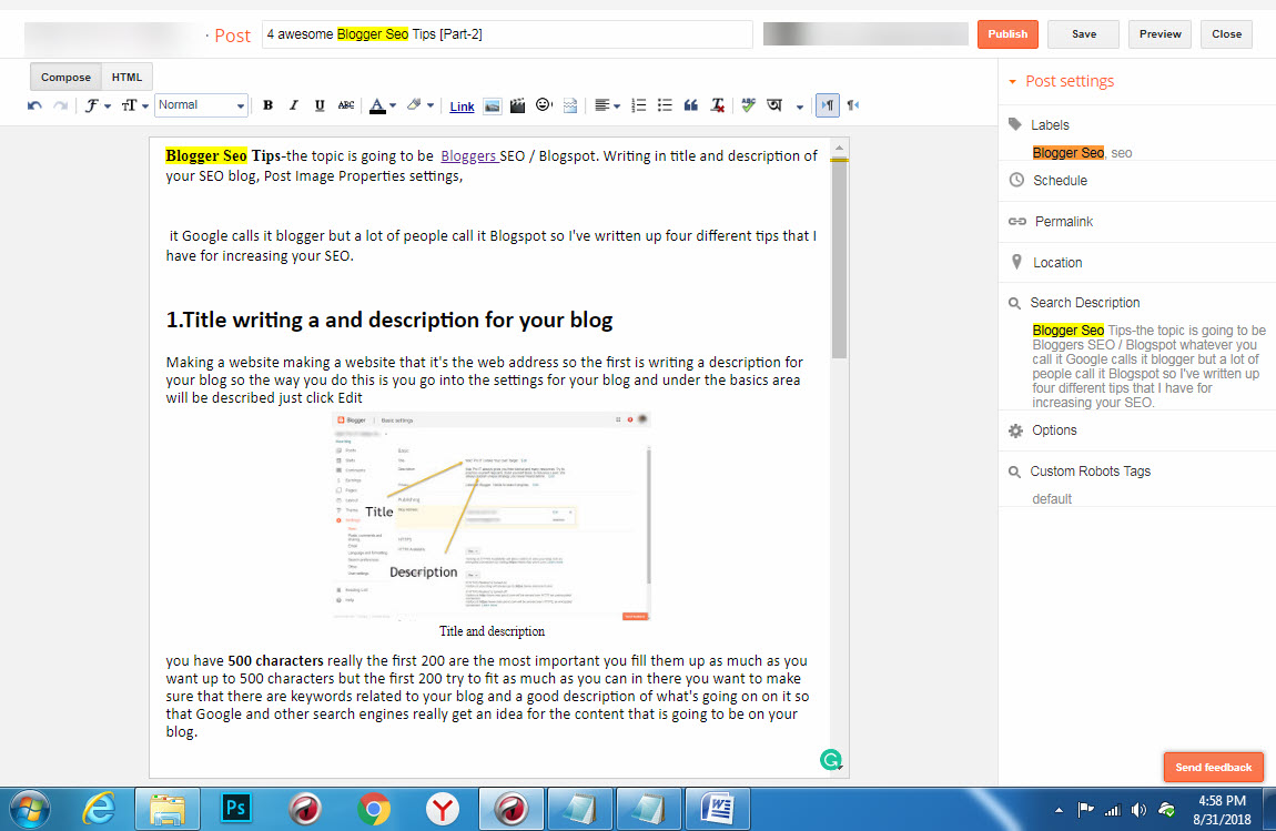 4 awesome Blogger Seo Tips [Part-2]