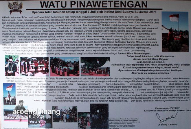 poster sejarah watu pinawetengan minahasa sulawesi utara
