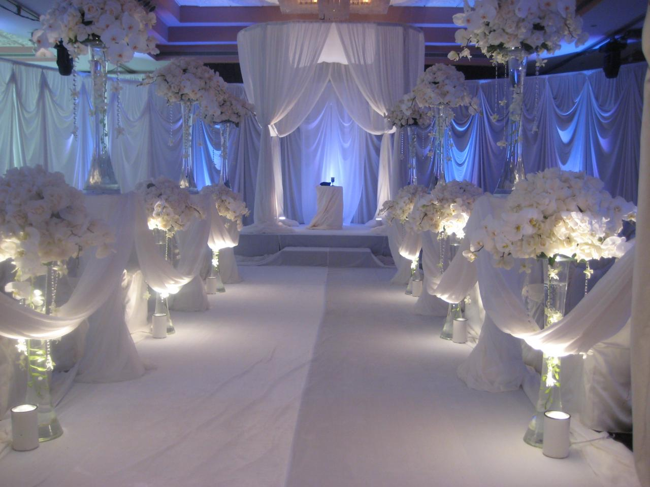 All White Indoor Wedding Ceremony Site: Wedding Decorations: Wedding Decorations Accessories