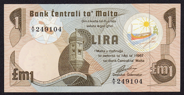 Malta Banknotes 1 Maltese Lira banknote 1979 Gardjola Watch Tower in Senglea, Malta.