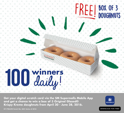 Download SM Supermalls App and Get A Chance to Win Krispy Kreme Doughnuts everyday!