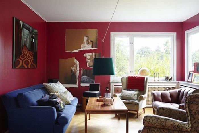 kırmızı oturma odası dekorasyon
