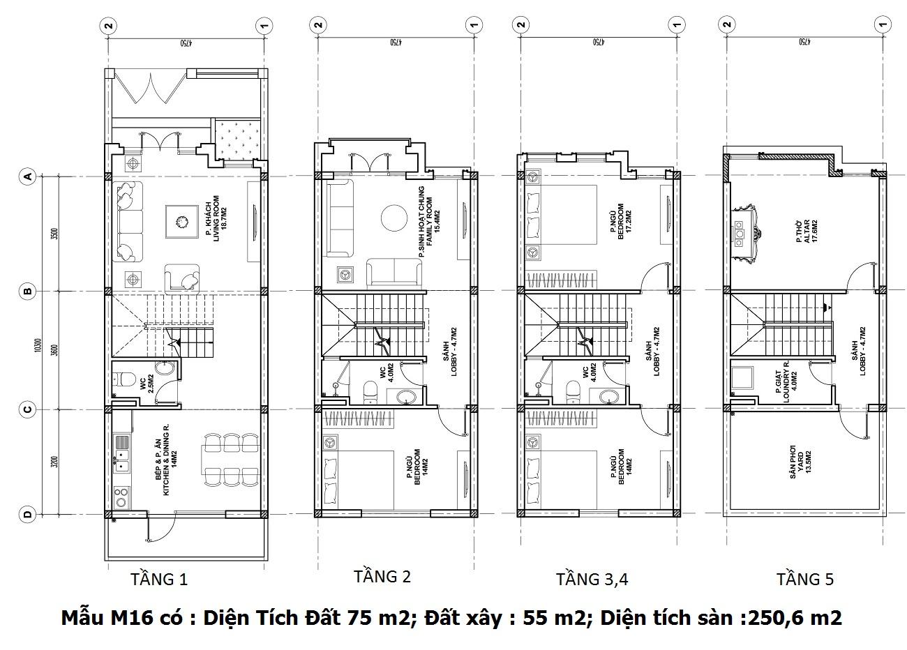 Mẫu thiết kế M16 Shophouse Larissa