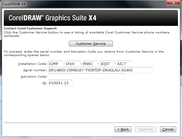 installation code corel draw x4