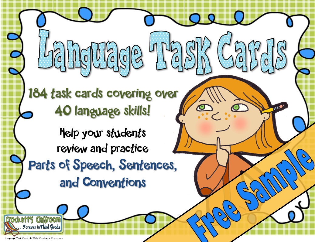 Language Task Cards, Free Sample----Crockett's Classroom