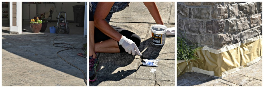 prepping your work space to stain stamped concrete