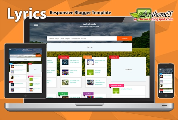 Lyrics Responsive Blogger Template Preview