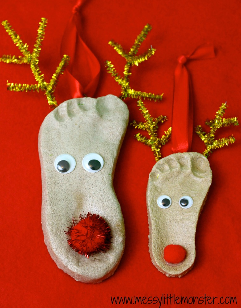 footprint salt dough ornament reindeer craft