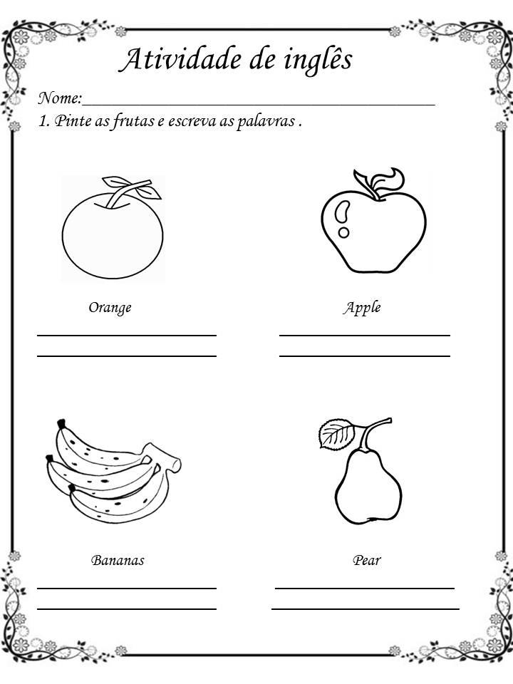Preferência Literatura, gramática e inglês: ATIVIDADES DE INGLÊS: FRUIT (FRUTAS) EQ82