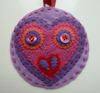 Valentine's Day felt embroidered heart