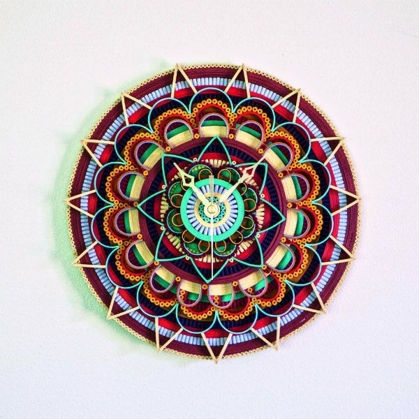 colorful quilled mandala clock