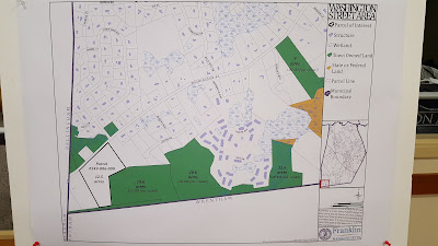 map of land being purchased by Franklin, the block of land in the lower left corner would  connect to the other green (Town owned) land lots