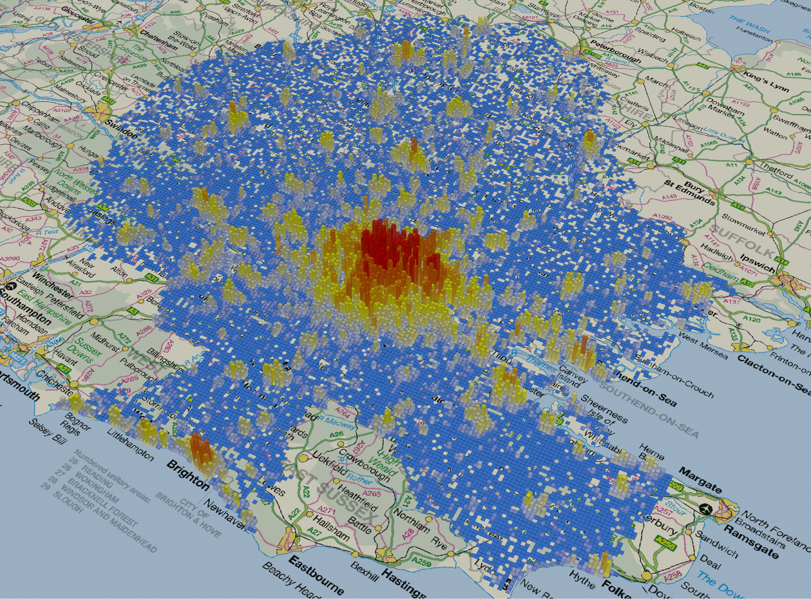 Population density for 1km cells