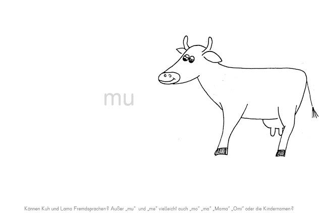 Freies Schreiben von Beginn an - Arbeitsblatt Kuh und Lama reden