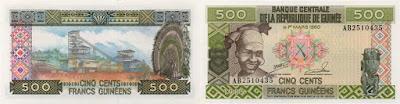 Guinea: Billete de 500 francos guineanos de 1985