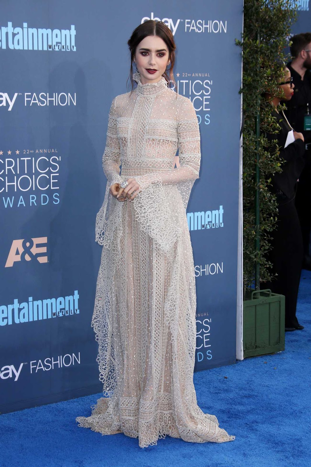 Lily Collins goes gothic chic for the 22nd Annual Critics' Choice Awards