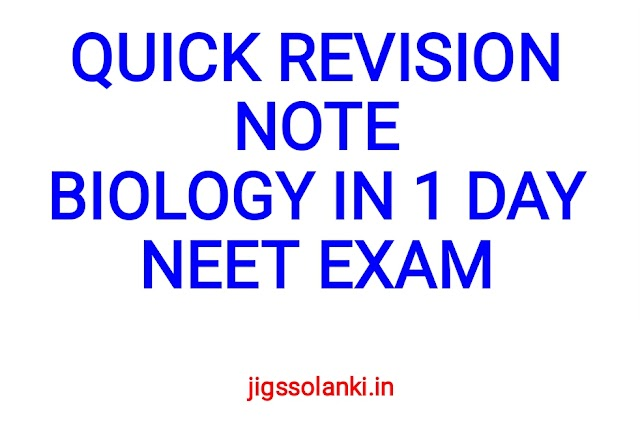 QUICK BIOLOGY REVISION NOTE IN 1 DAY FOR NEET EXAM