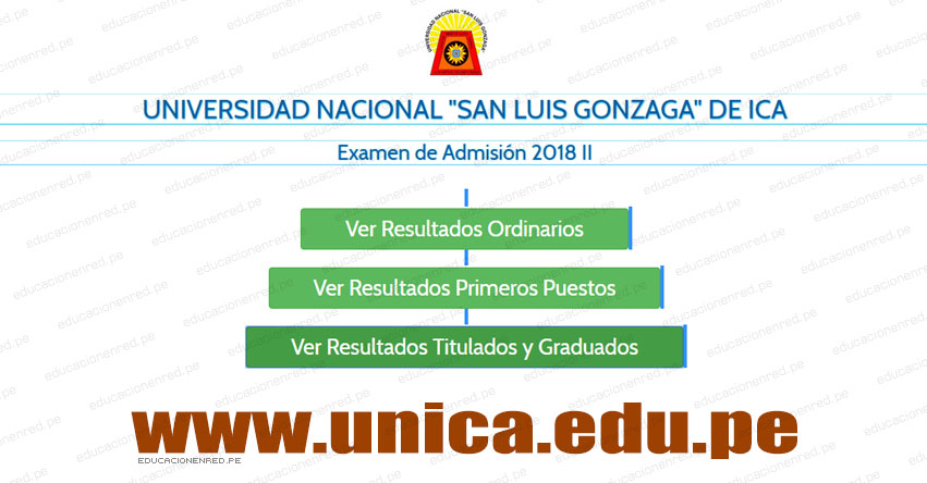 UNICA Publicó Resultados Examen Admisión 2018-2 (Sábado 29 Diciembre) Lista Ingresantes - Universidad Nacional San Luis Gonzaga de Ica - www.unica.edu.pe