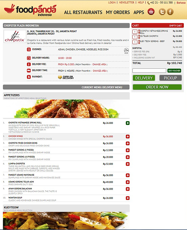 Choose from the available menu, state the quantity of order.