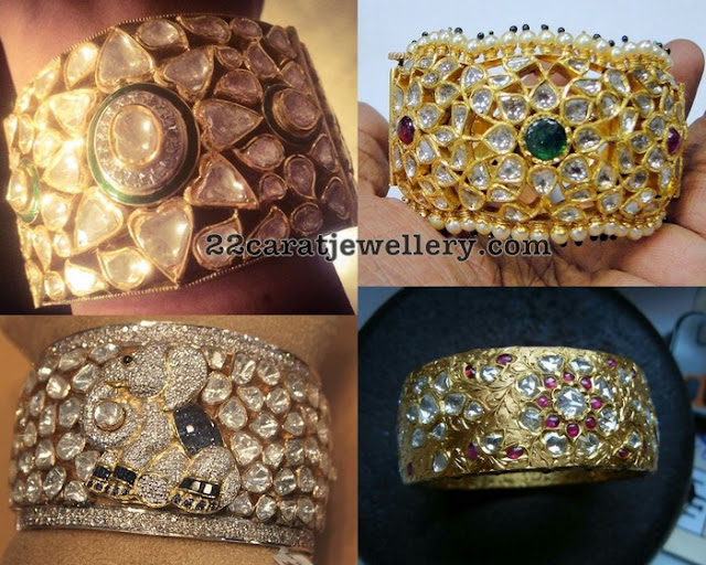 Broad Kundan Diamond Bangles